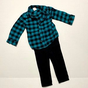 Jumping Beans flannel shirt and Corduroy pants